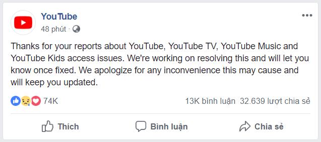 youtube bị sập